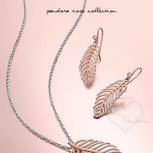 NWOT Pandora rose light as feather earrings